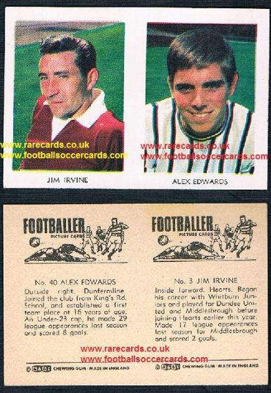 1966 A&BC Scottish coloured pair 3 Irvine Boro Dundee u Hearts 41 Edwards Dunfermline
